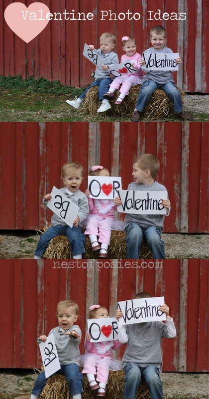 Valentine Photo Ideas to send to the family via Nest of Posies  #valentines