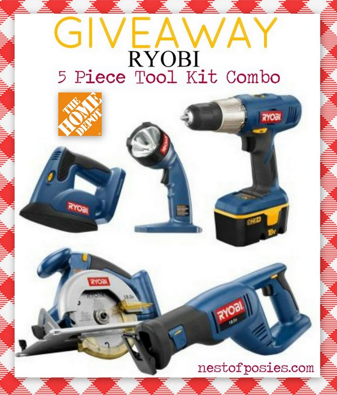 a early christmas a giveaway for a 5 piece ryobi tool set nest of posies. Black Bedroom Furniture Sets. Home Design Ideas