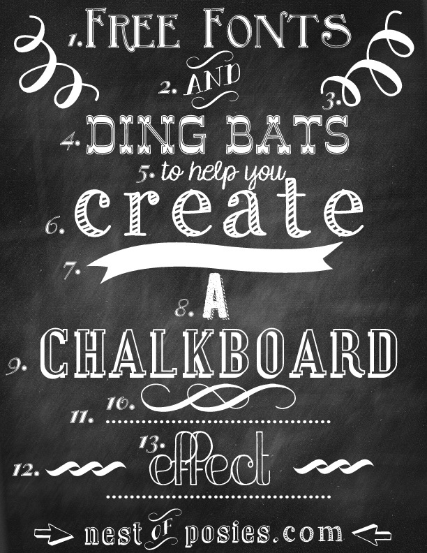 Free Chalkboard Fonts & Dingbats - Photoshop NOT required! - Nest of ...