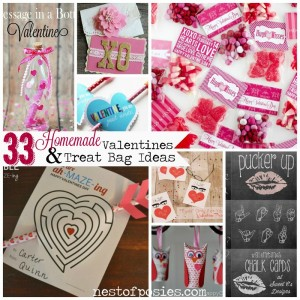 33 Homemade Valentine Cards & Treat Bag Ideas via Nest of Posies