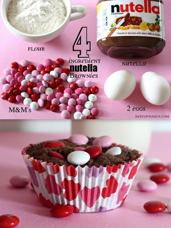 Nutella Brownies. Just 4 ingredients & so easy!  via Nest of Posies #recipe #valentine