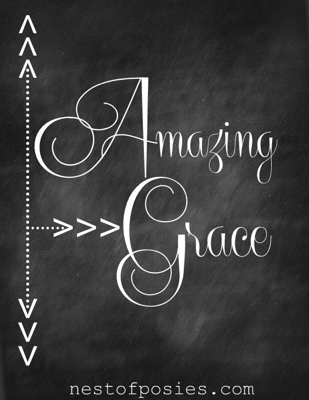 Amazing Grace Chalkboard Printable via Nest of Posies