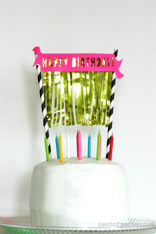 Birthday Banner & Gold Fringe Birthday Cake via Nest of Posies with free Silhouette cutting file