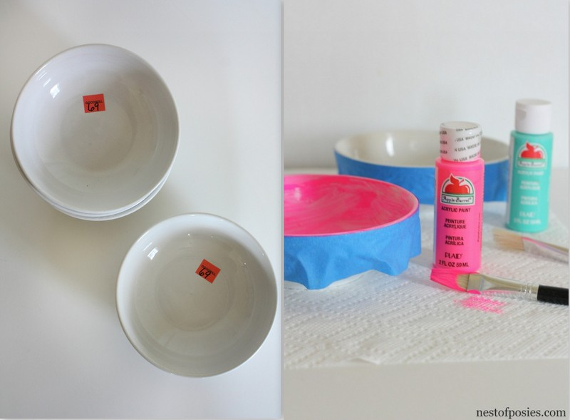 Turn shallow bowls from thrift stores into nesting bowls for your decor via @NestofPosies