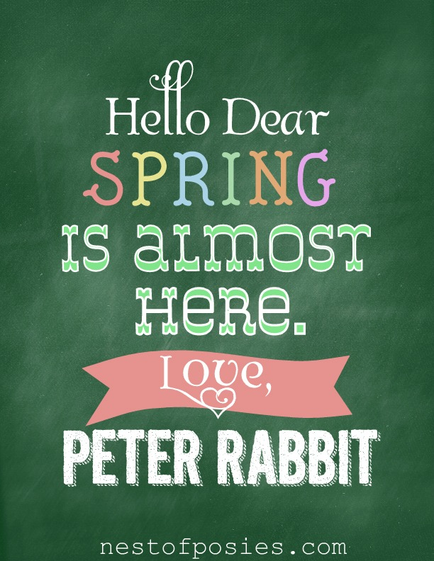 Hello Dear Peter Rabbit #Chalkboard Printable via @NestofPosies