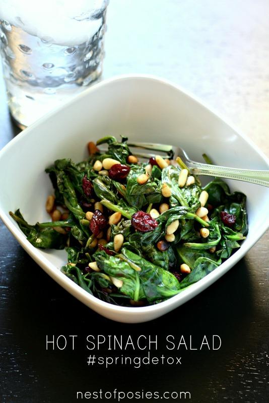Hot Spinach Salad a #springdetox via @nestofposies