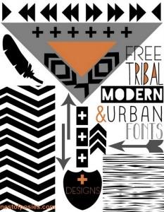 FREE Tribal, Modern & Urban Fonts + Digital Designs