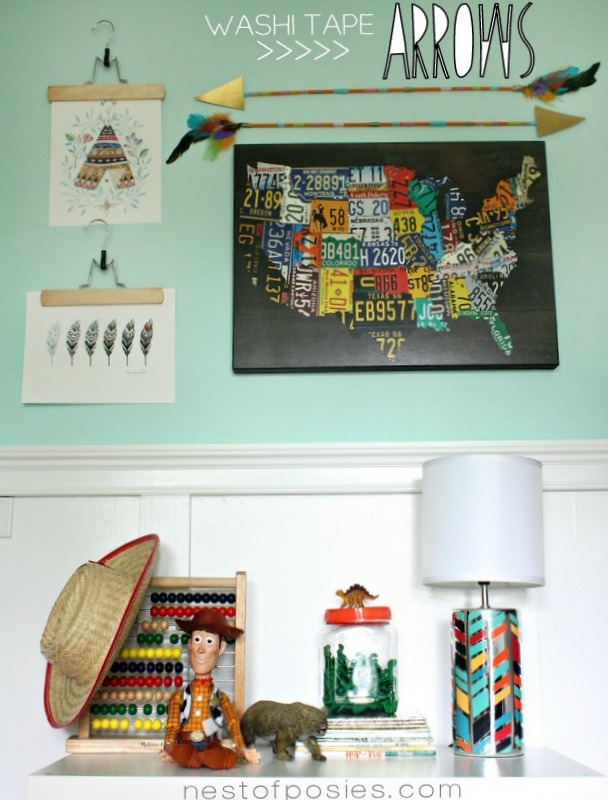 Washi Tape Arrows & the boys {shared} bedroom makeover...part 1 via Nest of Posies