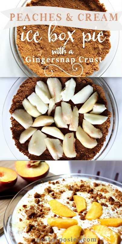 Peaches and Cream Ice Box Pie with Gingersnap Crust