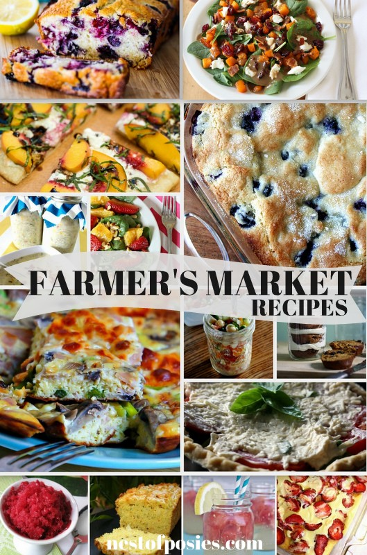 A great collection of some personal favorite Farmer's Market Recipes.  All using fresh ingredients you would find in local markets or growing in your garden