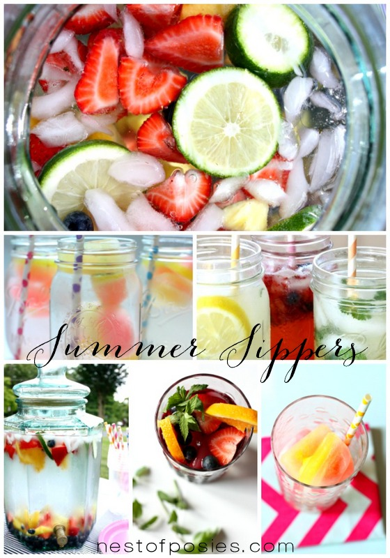 Beautiful & refreshing Summer Sipper Recipes for the whole family to enjoy & beat the heat.  via Nest of Posies