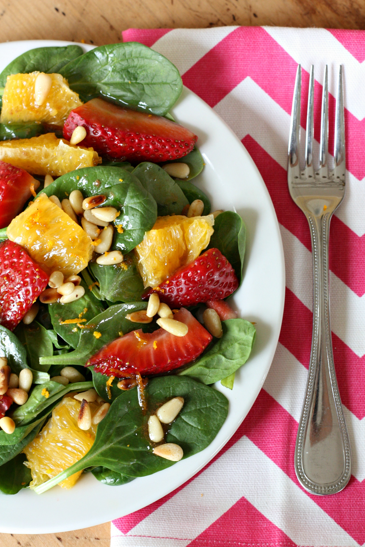 citrus spinach salad with orange balsalmic dressing