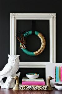 Pantone Emerald Green Fall Feather Wreath