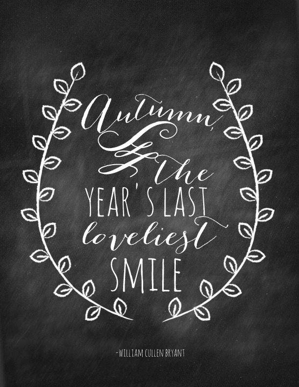 Fall and Autumn Chalkboard Quote via Nest of Posies