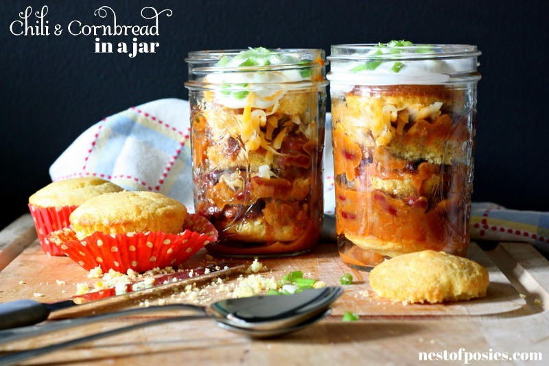 cornbread and chili in a jar vie Nest of Posies