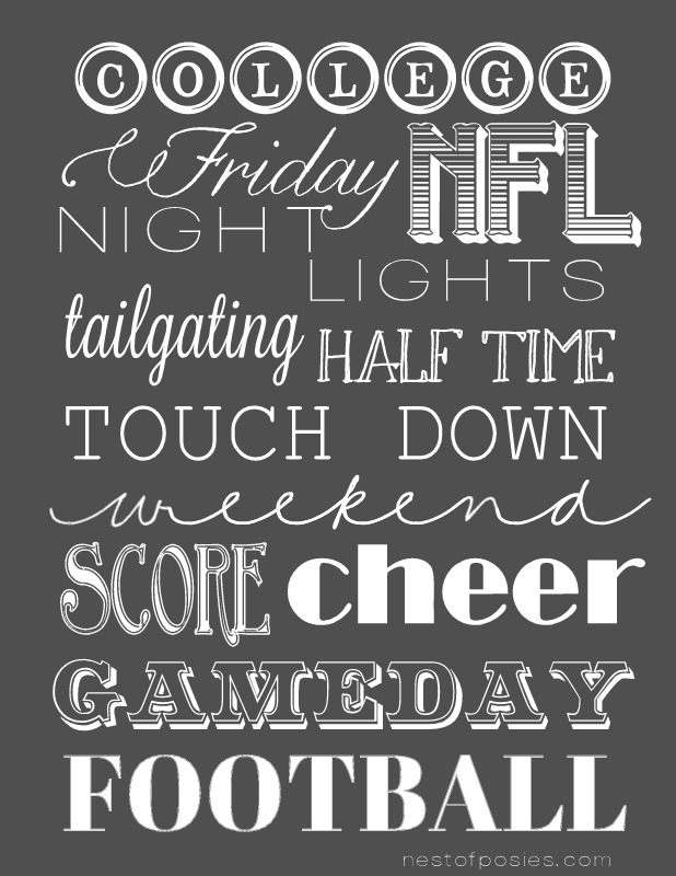 Nest of Posies Gameday Football Printable