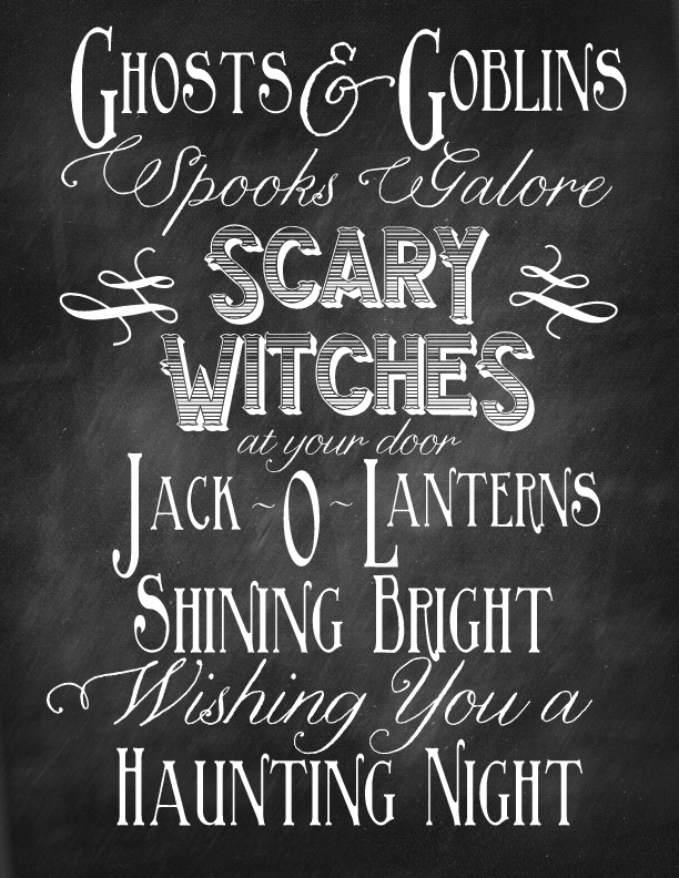 Ghosts & Goblins Chalkboard Halloween Subway Art Printable from Nest of Posies.