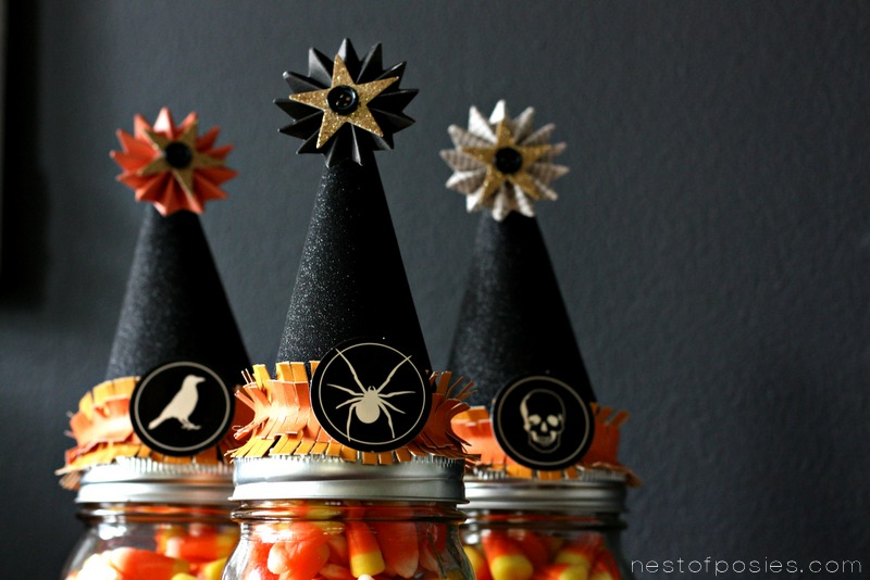 Candy Corn in a Mason Jar - Halloween Witch Hat Treats