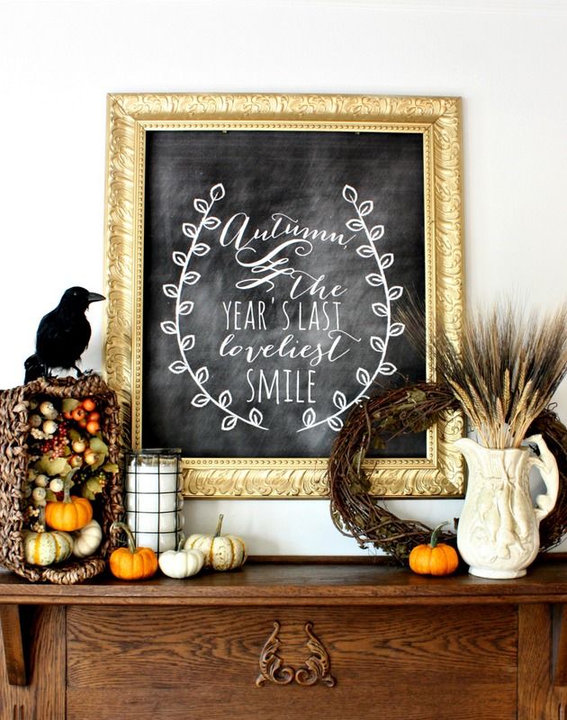 Fall Harvest Chalkboard Mantel