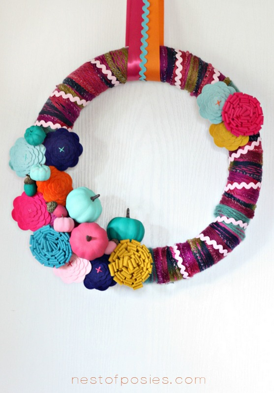 Pumpkins and Posies, a Fall wreath via Nest of Posies