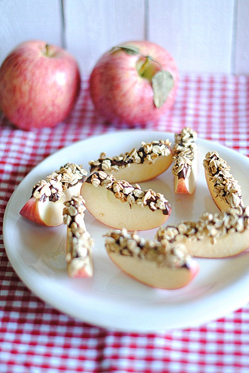 Chocolate and Granola Apple Wedges