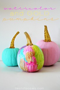 Watercolor and Gold Pumpkins #thinkpink