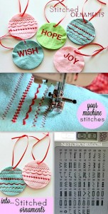 Make these fun Stitched Ornaments using the decorative stitches on your machine!  So easy.  Great as gift tags too!