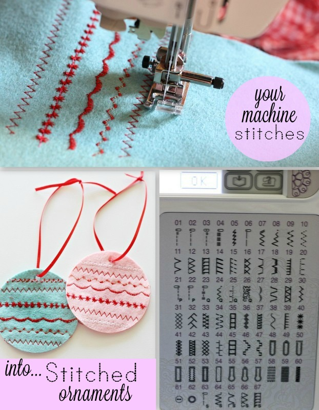 Use your sewing machine stitches to make decorative ornaments!