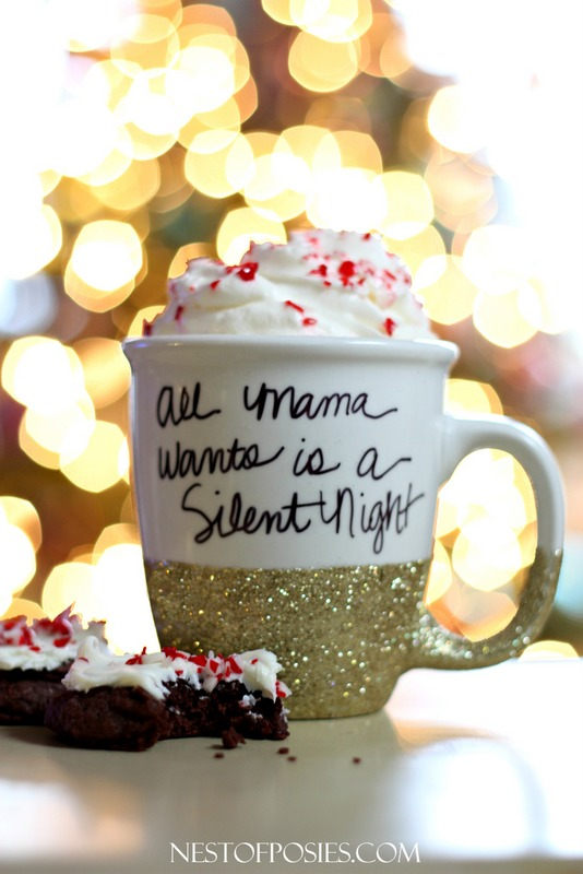 All Mama wants is a Silent Night - how to make a glitter & sharpie mug