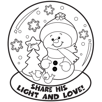 snow globe coloring page - Christmas Coloring Page