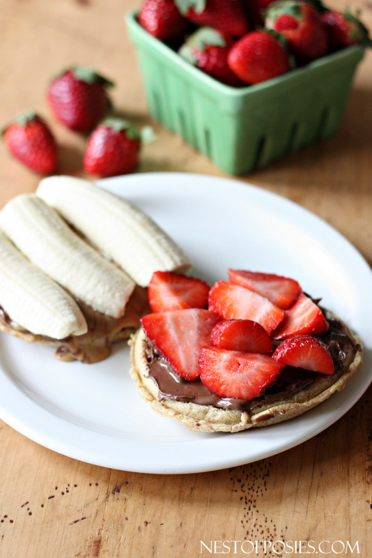 Nutella Strawberry Banana Grilled Waffle Sandwich