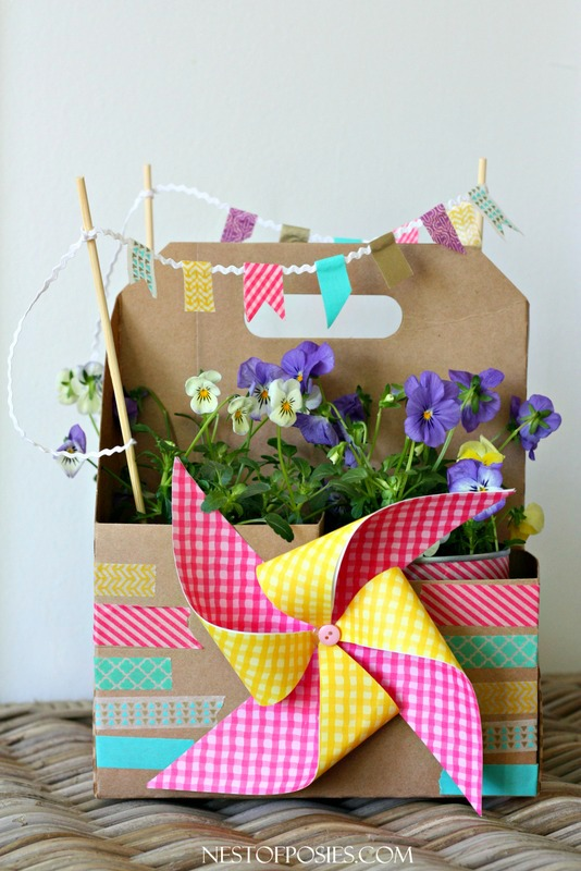 Spring in a box.  A fun recycled project, all for 2 dollars!