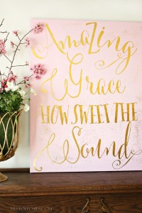 Amazing Grace Pink and Gold Spring Mantel