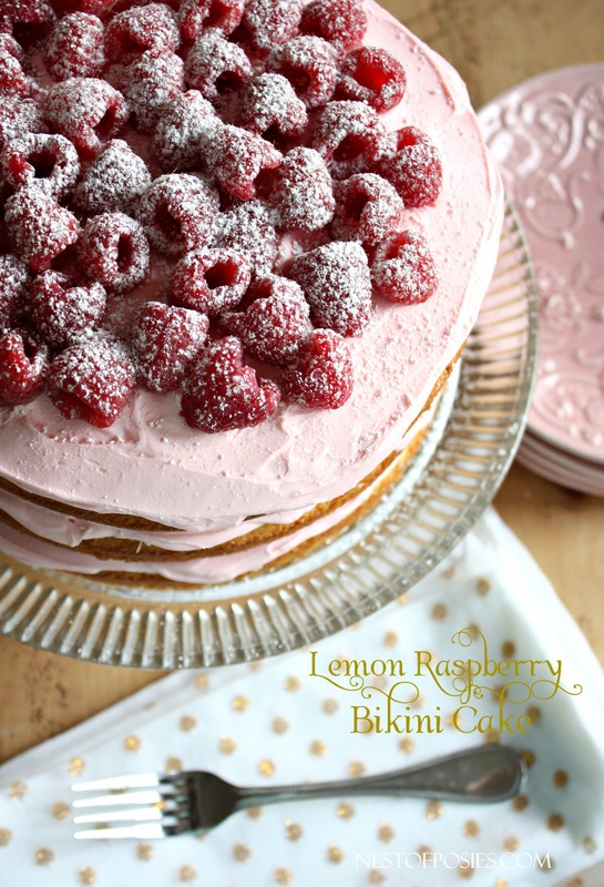 Lemon Raspberry Bikini Cake - cakemix box cake, quick and delicious homemade frosting!