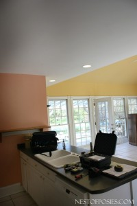 Kitchen Island and SunroomFamily Room