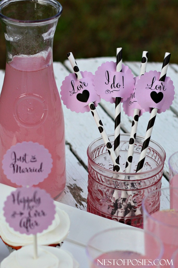 Bridal Shower or Wedding Drink Printable Toppers