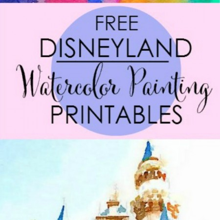 Free Disneyland Watercolor Painting Printables.  Mickey Mouse Balloons + Sleeping Beauty's Castle