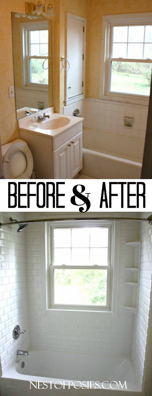 Bath and Shower Before and After.  How we made it possible to keep the window and install a shower head.