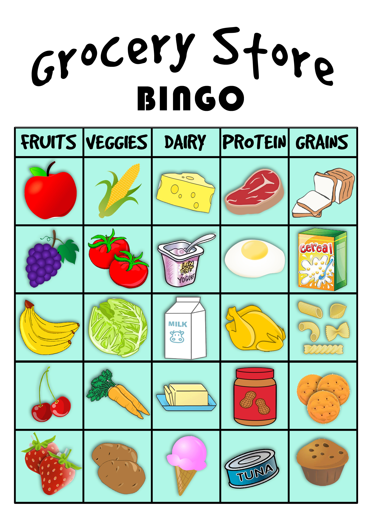 this grocery store bingo printable focuses on the 5 major food groups ...