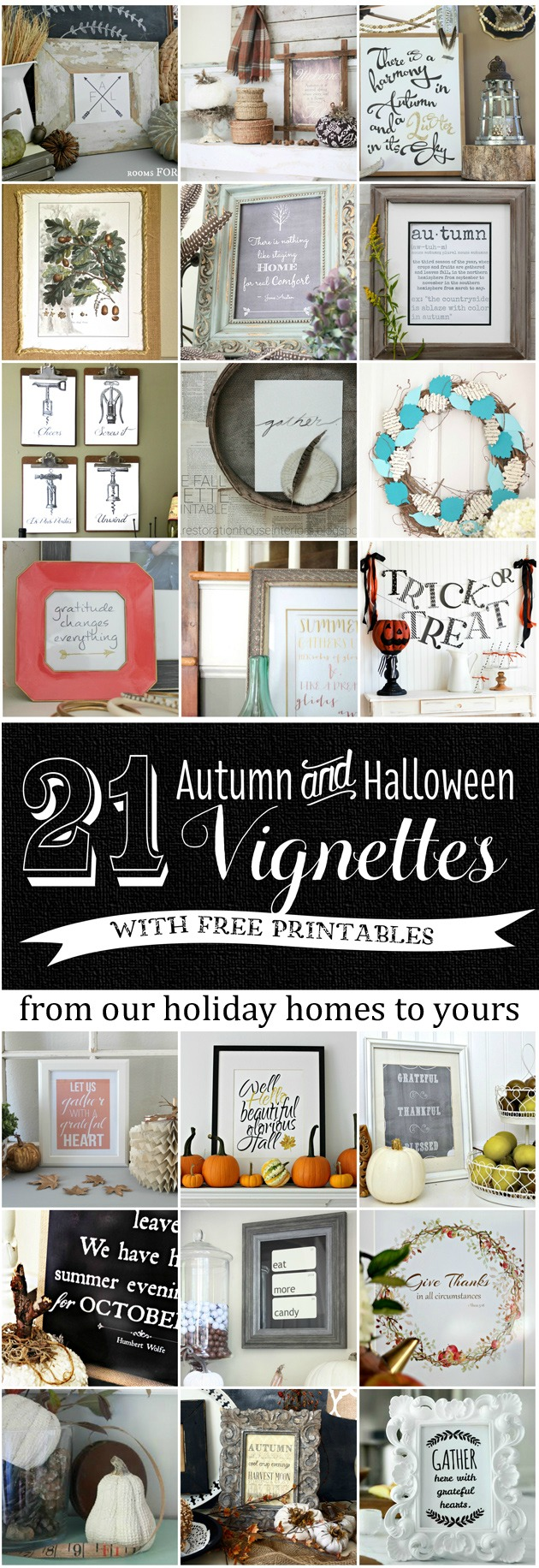 21 Autumn and Halloween Vignettes with free printables