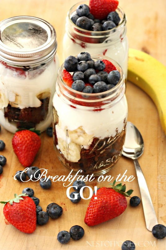 Breakfast on the GO!  A healthy breakfast full of protein, fiber and grains.