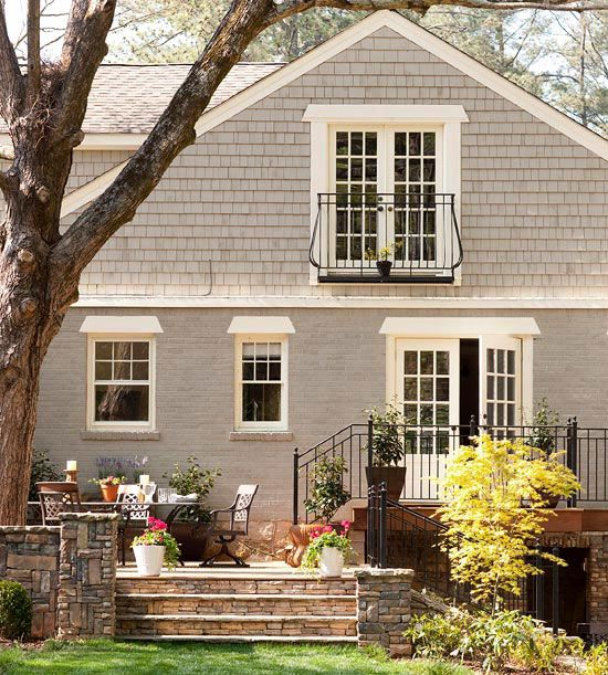 Exterior gray paint colors White painted brick exterior