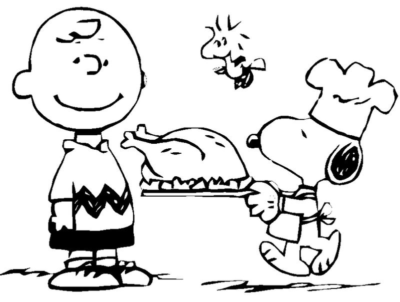 Charlie Brown And Snoopy With A Turkey On Platter