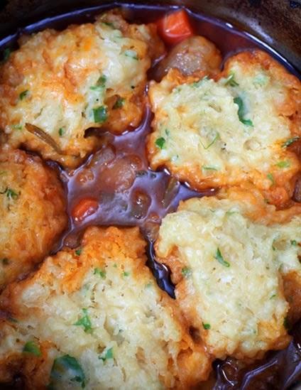 Crock Pot Beef Stew and Herb Dumplings