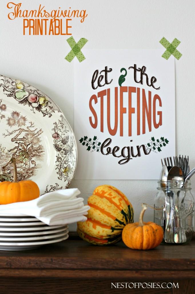 Let the Stuffing Begin!  Free Thanksgiving Printable