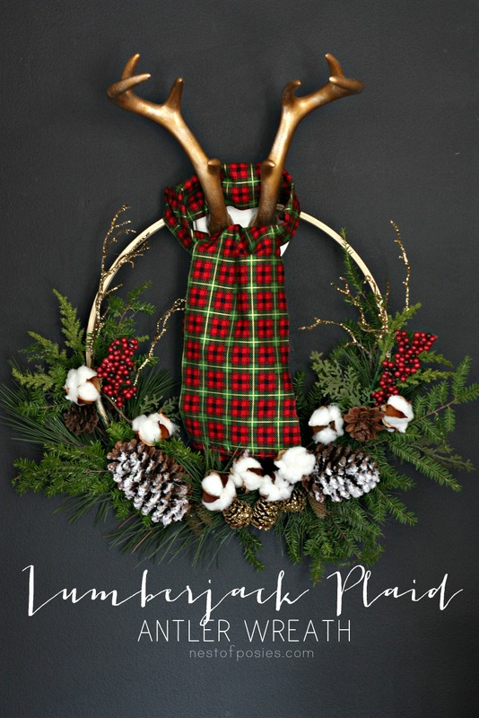 Lumberjack Plaid Antler Wreath.  A full tutorial using an embroidery hoop, back yard trimmings, and a fabric remnant