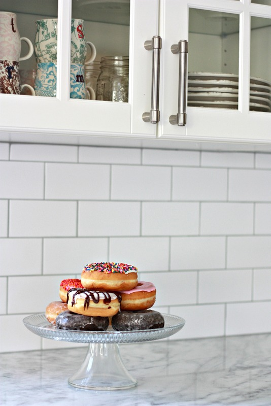 Large subway tile backsplash