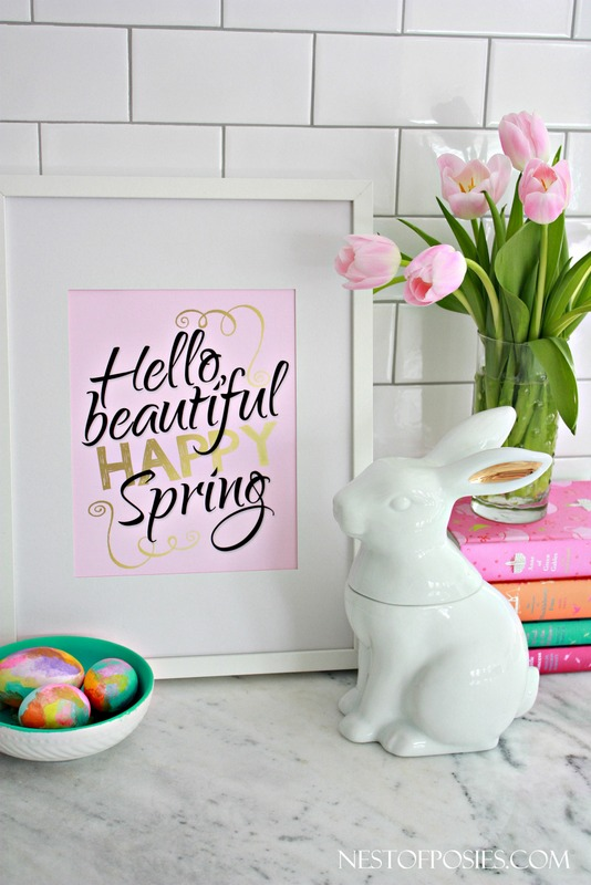 Hello Beautiful Happy Spring Printable in Pink, Black and Gold