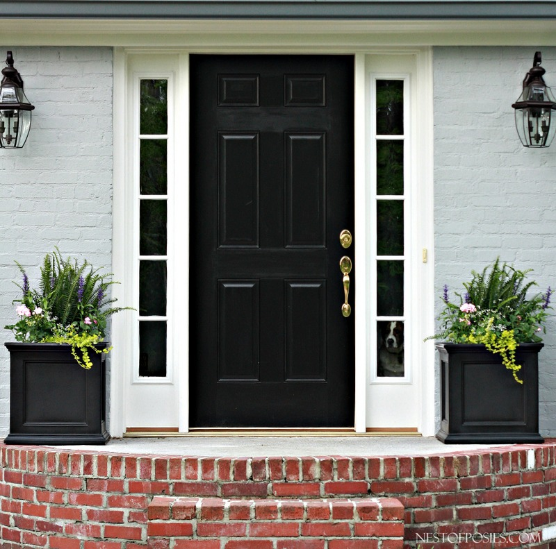 House With Black Door With Side Lights : Front porch curb appeal