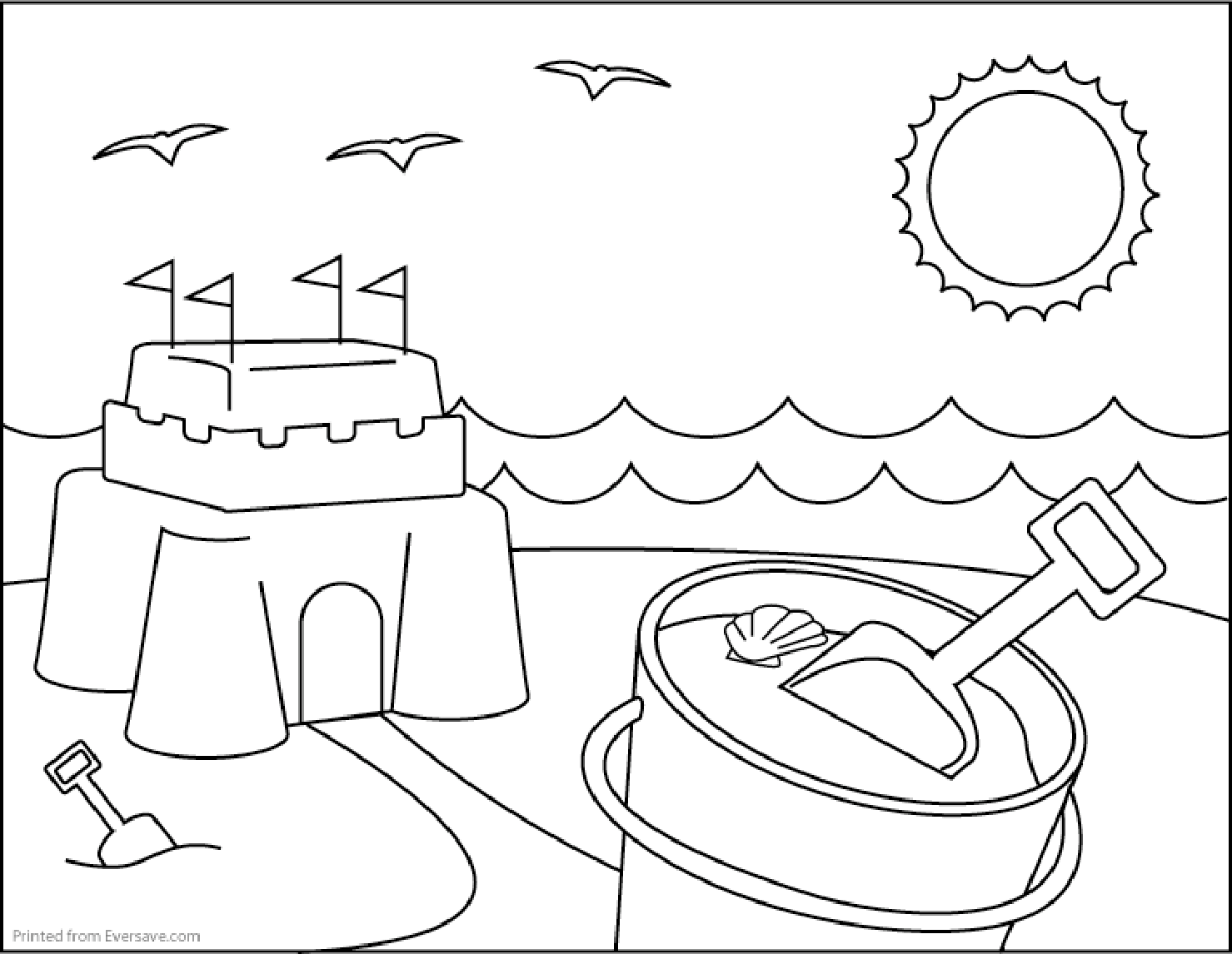 coloring pages and beach - photo#24
